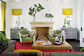 living room with mix of colors and styles from many cultures
