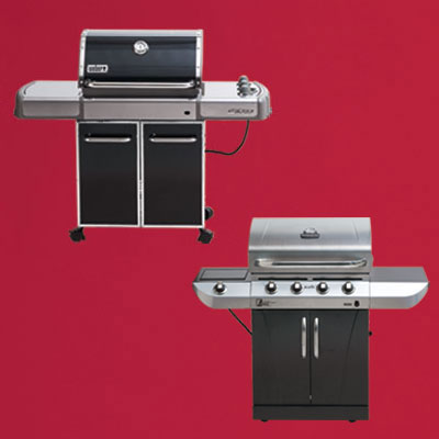 the Weber Genesis-310 three-burner propane grill and the Char-Broil Commercial Series four-burner propane grill