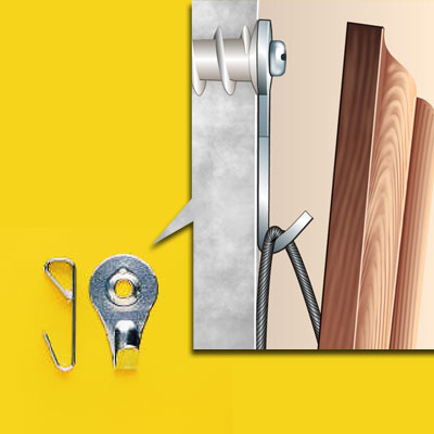 two types of picture hanging hooks and an illustration to show how they work