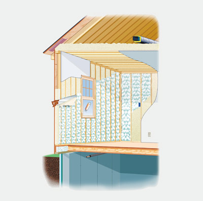 illustration of house with foam insulation