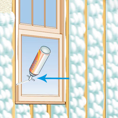 illustration of house with Canned Spray Foam