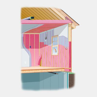 illustration of house with fiberglass insulation