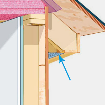 illustration of house with fiberglass insulation and Soffit Vent