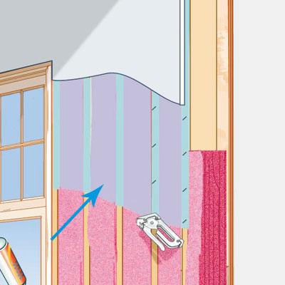 illustration of house with fiberglass insulation and Polyethylene Vapor Barrier