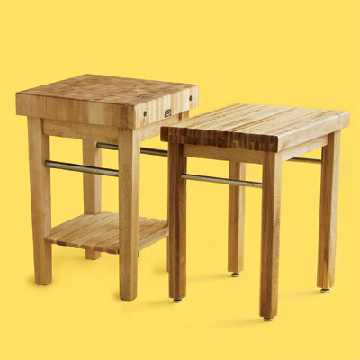 two examples of butcher-block kitchen worktables