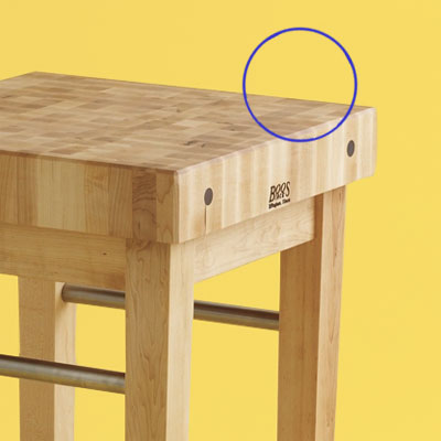 surface detail of a high end butcher-block kitchen worktable