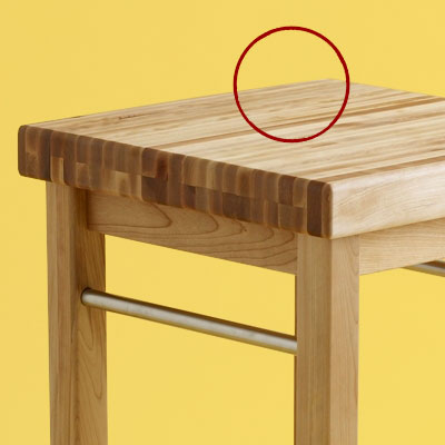 surface detail of a budget butcher-block kitchen worktable