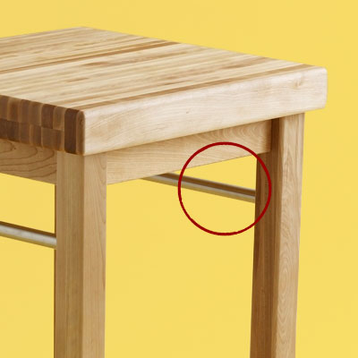 storage details of a budget butcher-block kitchen worktable