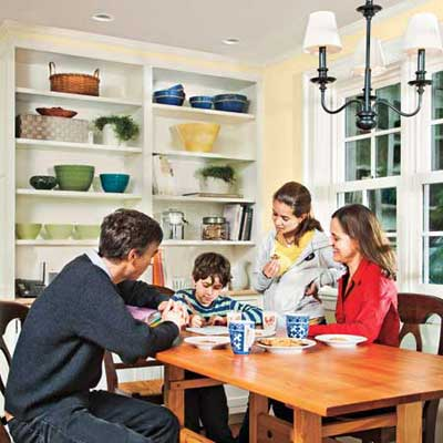the Newton Centre, MA TV project remodeled breakfast nook area with the Pierce family sitting around the table