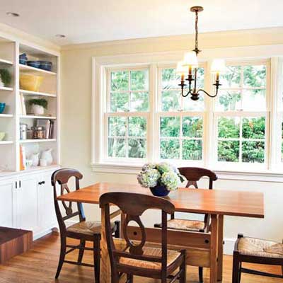 the Newton Centre, MA TV project remodeled breakfast nook area