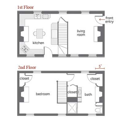 Eighteen fifties cottage floor plan