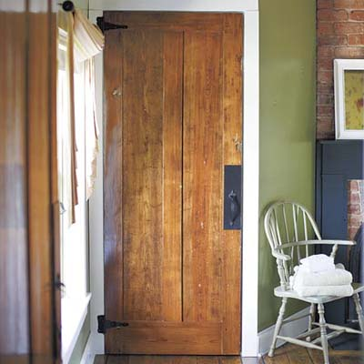 refinished heart-pine door
