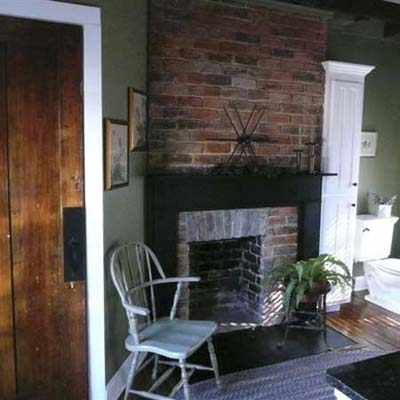 Renovated bathroom with fireplace