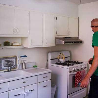 unfinished white kitchen