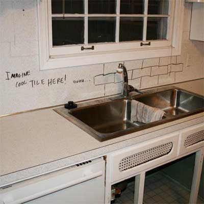 outdated kitchen counter and sink