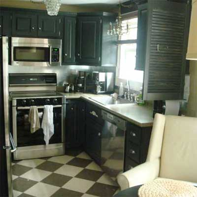 outdated kitchen with checkered floor