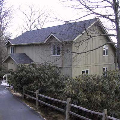 outdated olive green house exterior