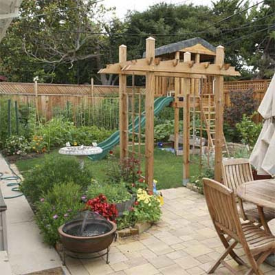 backyard with patio and kids play area