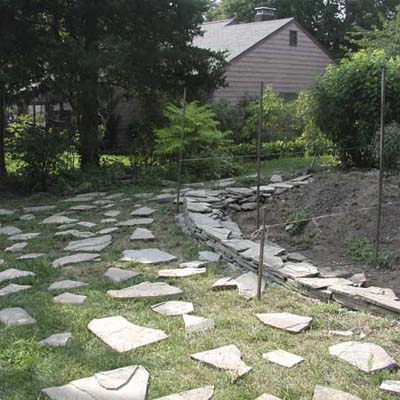 backyard with stepping stones