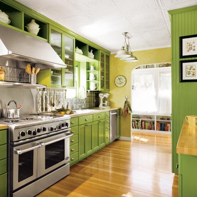 updated kitchen with green cabinets