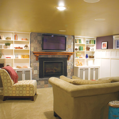 updated basement family room