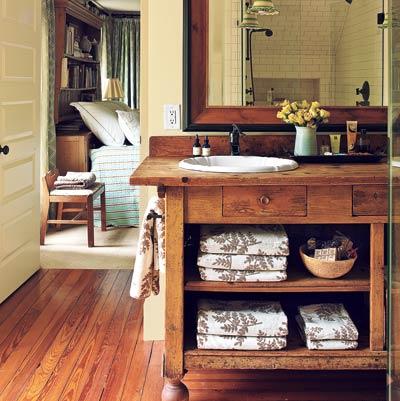 remodeled master bathroom in eco friendly cottage