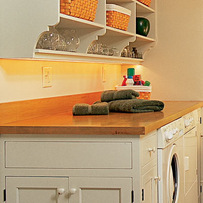 butcher block counter top in laundry room mud room