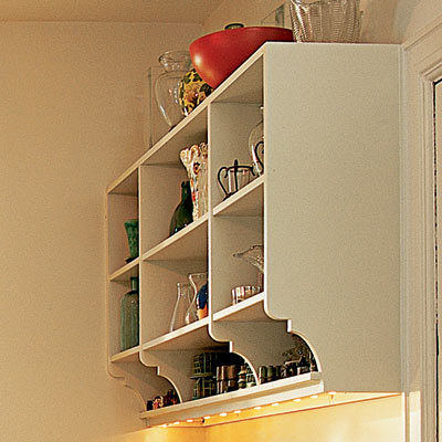 open shelving in laundry room mud room