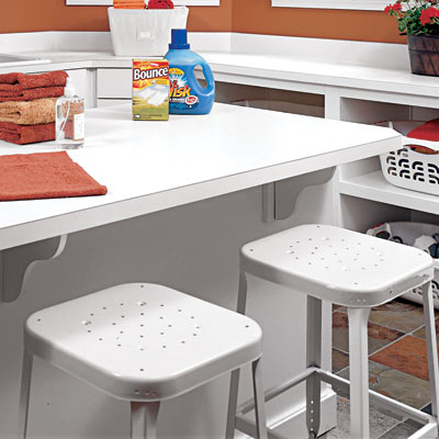 counter and stools in family room laundry room