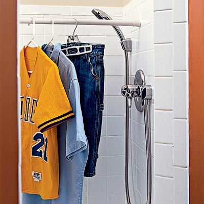shower stall in family room laundry room