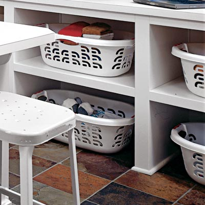 under counter cubbies in family room laundry room