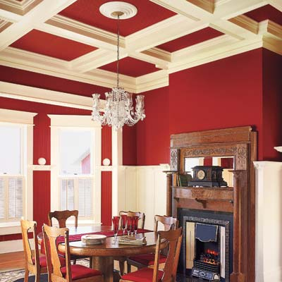 a living area that emphasizes the coffered ceiling