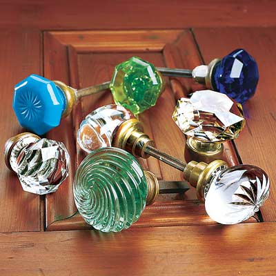 glass doorknobs of various styles and colors