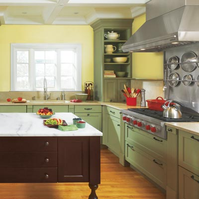 kitchen cabinets painted moss green