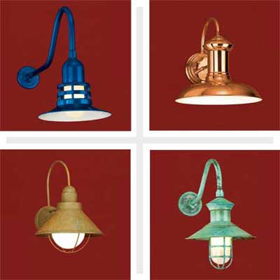 composite of four barn-style sconces