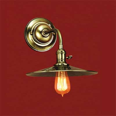 solid brass with a nickel finish barn-style sconce