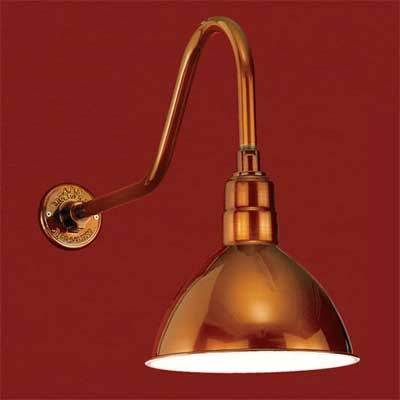 aluminum with caramel powder coating barn-style sconce