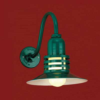 aluminum with a baked-on dark green enamel finish barn-style sconce