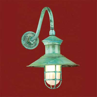 solid copper with a patinated finish barn-style sconce
