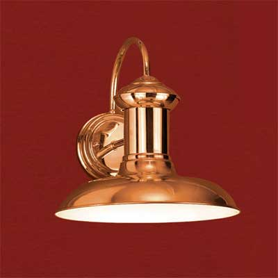 polished solid copper barn-style sconce