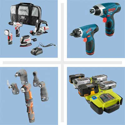 composite of four examples of cordless tools
