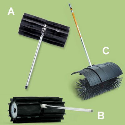 broom accessories for a multihead trimmer