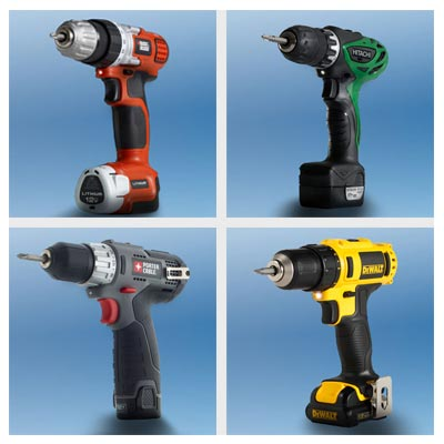4 drill/drivers; clockwise from top left: Black & Decker, Hitachi, Porter-Cable and DeWalt
