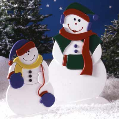Mrs snow and child holiday woodworking plans for fun for Wooden christmas yard decorations patterns