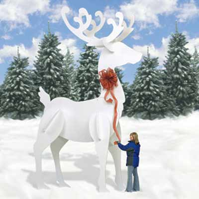 Ginormas White Reindeer | Holiday Woodworking Plans for Fun Yard Decor
