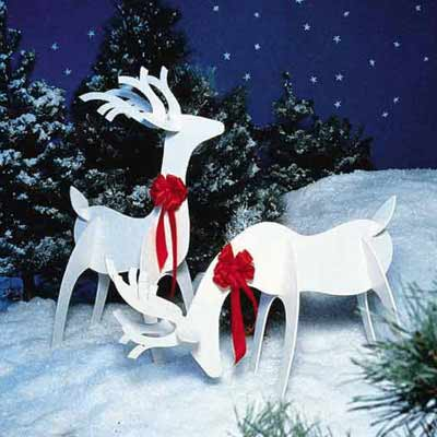 White Reindeer kit for wood Christmas lawn decoration