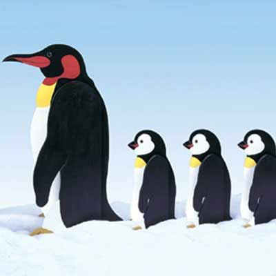Penguins on Parade kit for wood Christmas lawn decoration