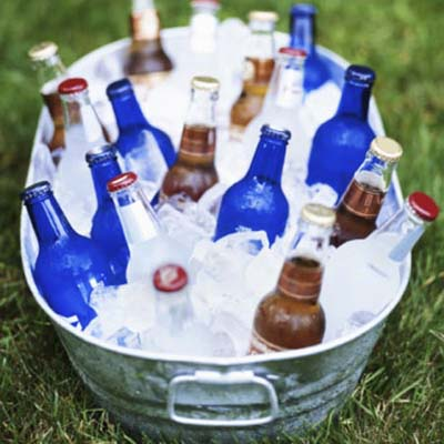 bucket of beer bottles