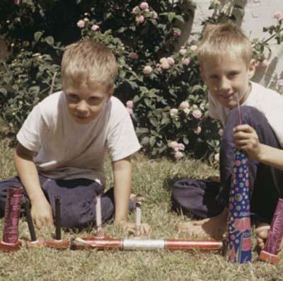 children with fireworks