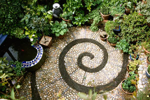 spiral pattern stone mosaic